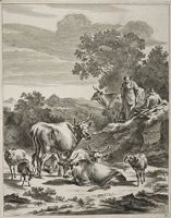 Milkmaid And Seated Herdsman On A Hillock