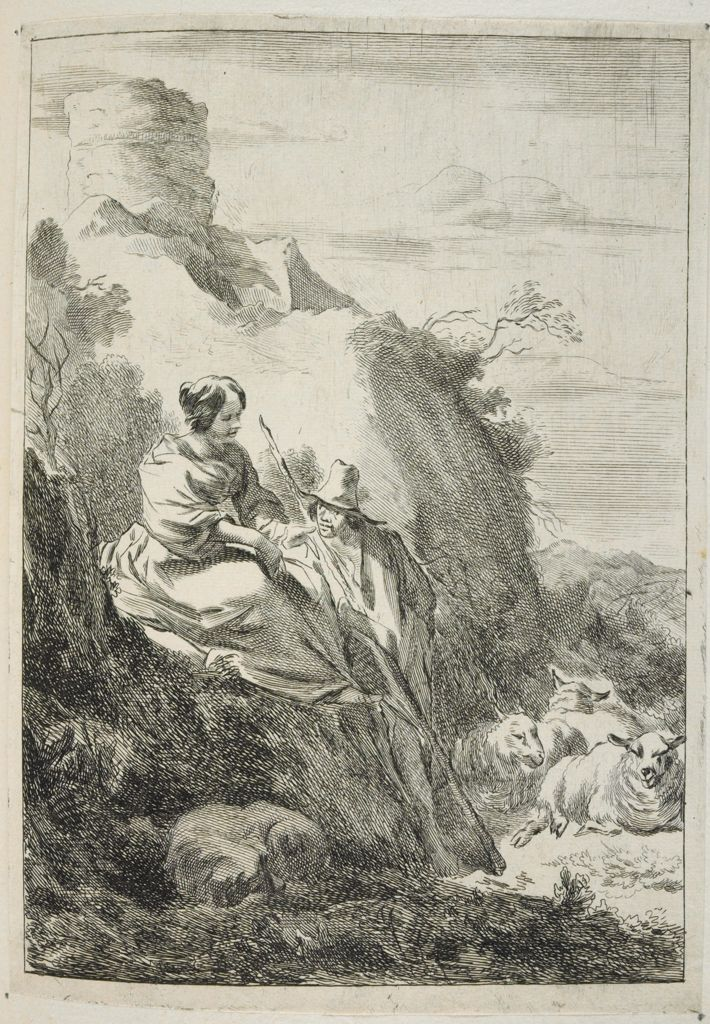 Girl Sitting On A Hillock And Standing Shepherd