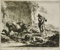 Herdsman Resting On A Staff Near A Ruin