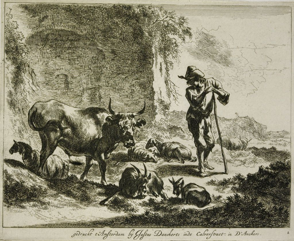 Herdsman Resting On A Staff Near A Ruin