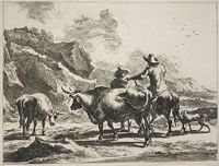 Mounted Herdsman Chatting With A Standing Herdsman