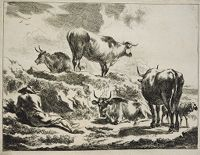 Cattle On A Hillock And Resting Cowherd