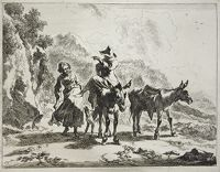Girl Walking Next To Young Herdsman Riding A Donkey