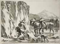 Two Donkeys And A Herdsman At A Ford