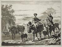 Couple, Each Riding A Donkey