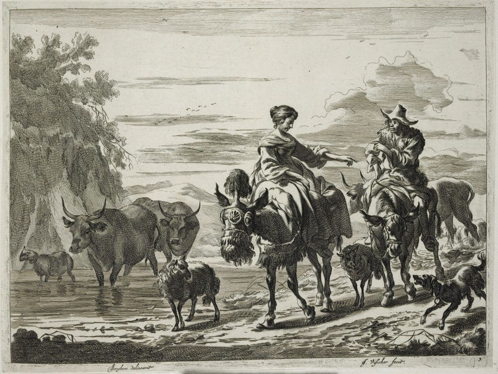 Couple, Each Riding A Donkey