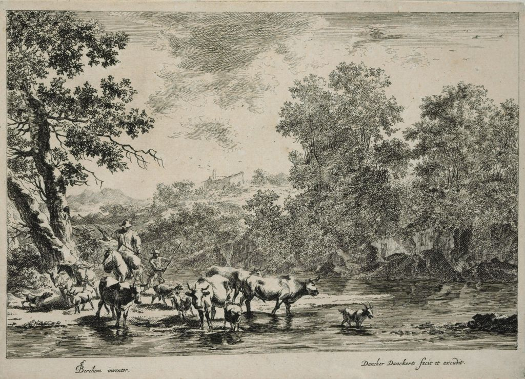 Peasant On Horseback And Various Animals