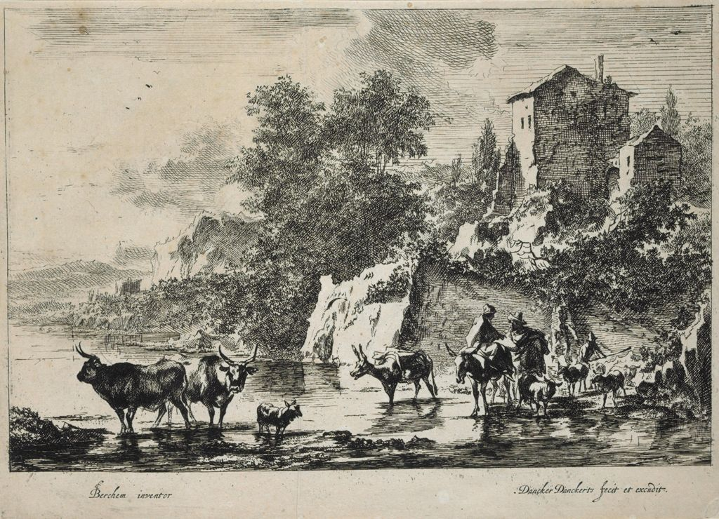 Two Cows In The Water With Herdsmen Approaching A Ford
