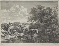 Herdsman Leaning On His Staff, Cattle In A Ford