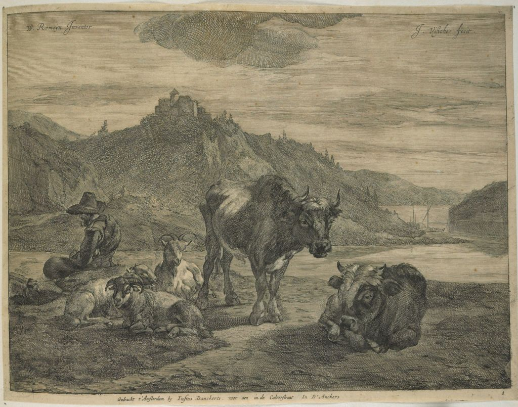 River Landscape With Resting Herdsman