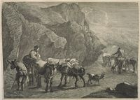 Cowherds And Cattle, Donkeys And A Goat, In A Rocky Landscape