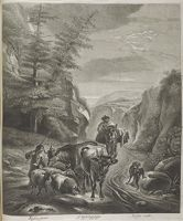 Shepherds With Cows And Sheep On Path In Mountains