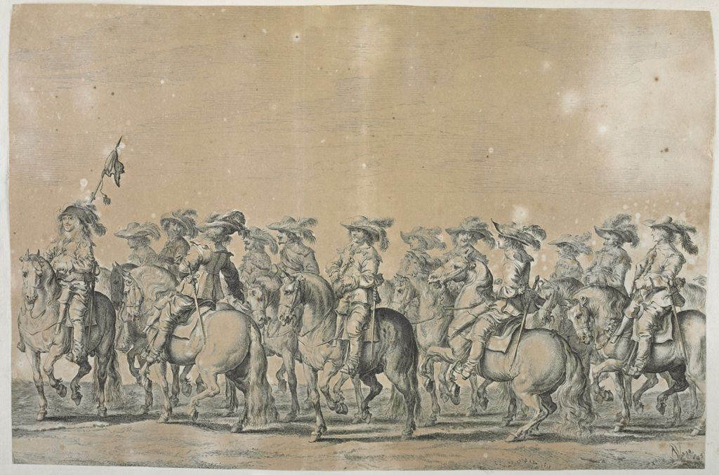 Group Of Courtiers On Horseback Led By Figure With Flag