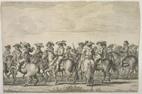 Line Of Courtiers On Horseback Facing Left, Behind Them  A Line Facing Right