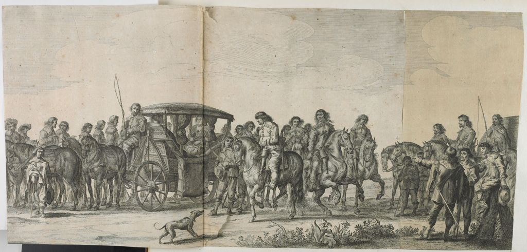 Marie De Medici In Her Carriage, Surrounded By Courtiers