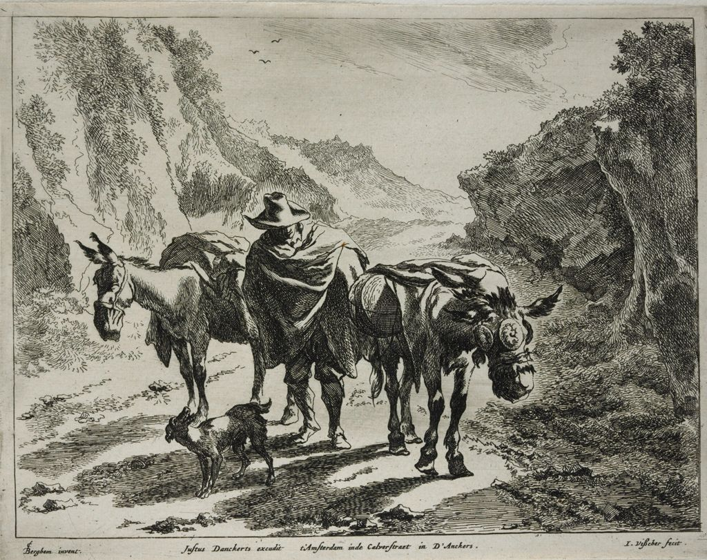 A Herdsman Guiding Two Donkeys