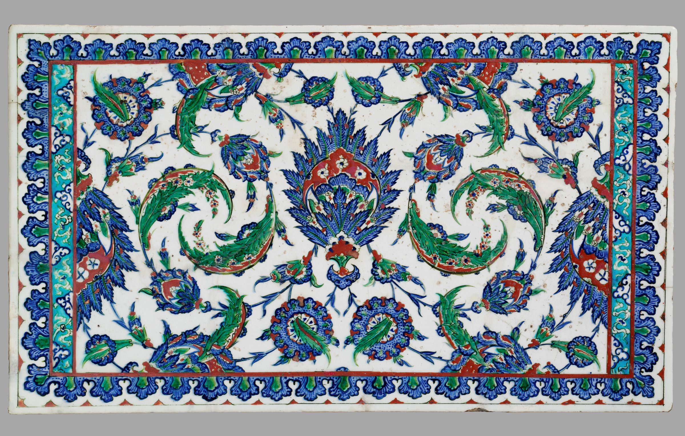 Tile Panel With Decoration Of Composite Flowers And Serrated Leaves