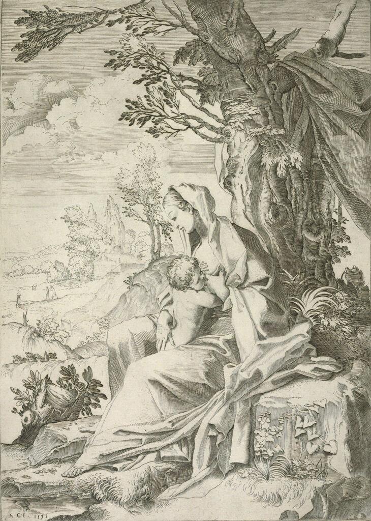 Virgin Nursing The Christ Child In A Landscape