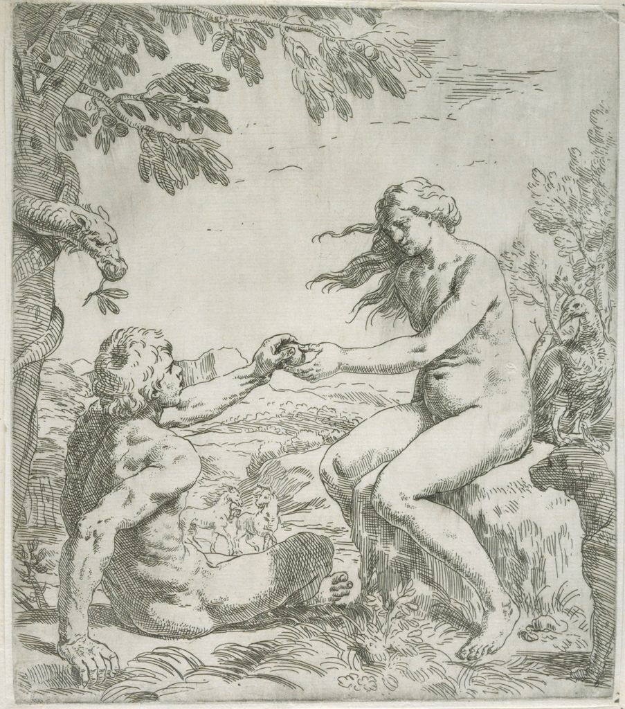 Adam And Eve, Serpent Watching As Adam Takes The Apple From Eve