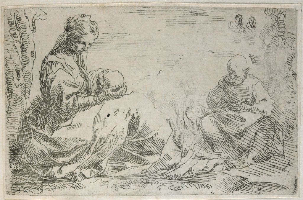 Holy Family At Rest In Egypt, Mary Cradling Jesus In Her Lap, Joseph Reading