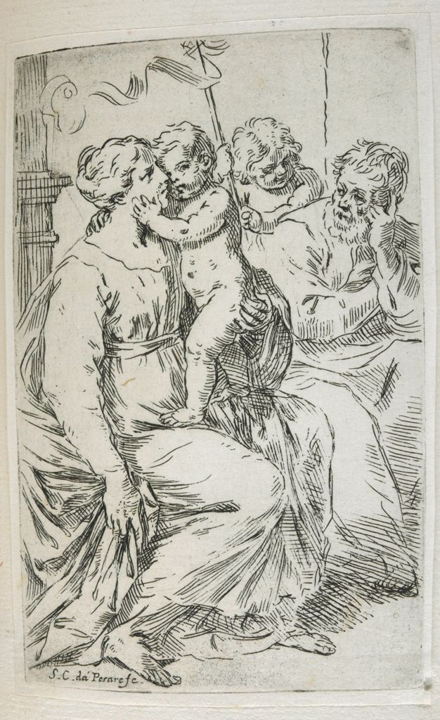 The Holy Family With Saint John The Baptist Holding A Staff