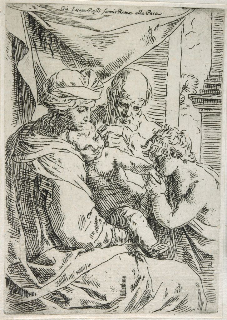 The Holy Family With Saint John The Baptist Kissing The Hand Of Christ