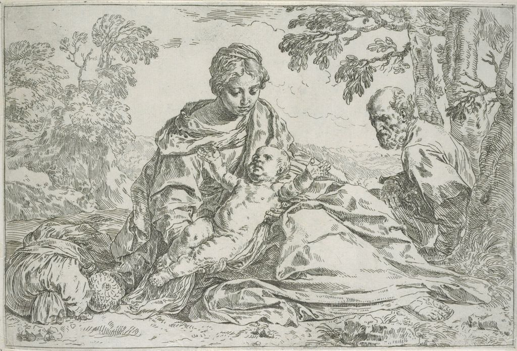 Holy Family At Rest In Egypt, Jesus Stretching In Mary's Lap, Joeseph Sitting Under A Table