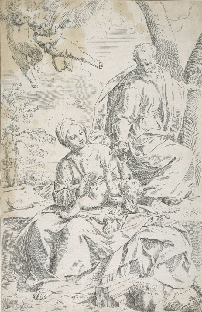 Holy Family At Rest On Ruins In Egypt, Mary And Joseph Playing With Infant Jesus, Two Cherubs Hovering Above