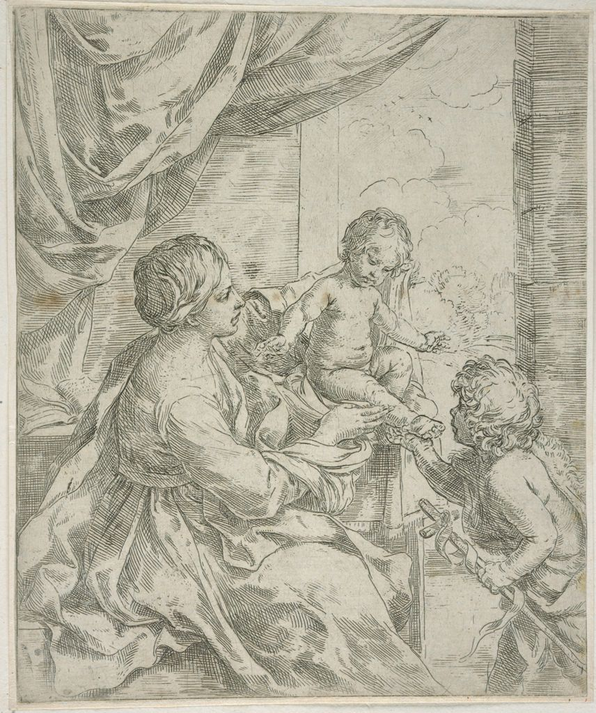 Madonna And Child At A Table With Saint John The Baptist