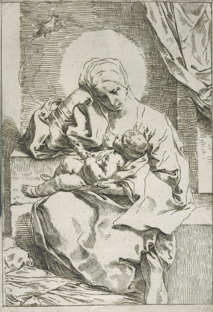 Madonna And Child With A Dove, Mary Stares Intensely At Christ