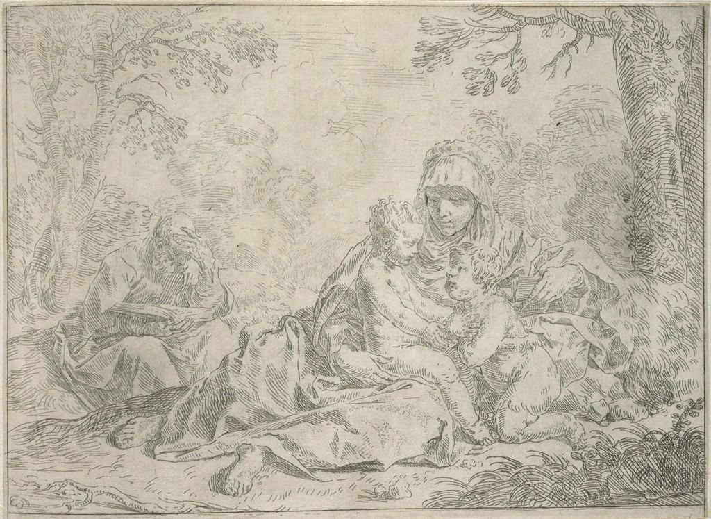 The Holy Family And Saint John The Baptist Who Kneels To Christ, Joseph Reading Under A Tree
