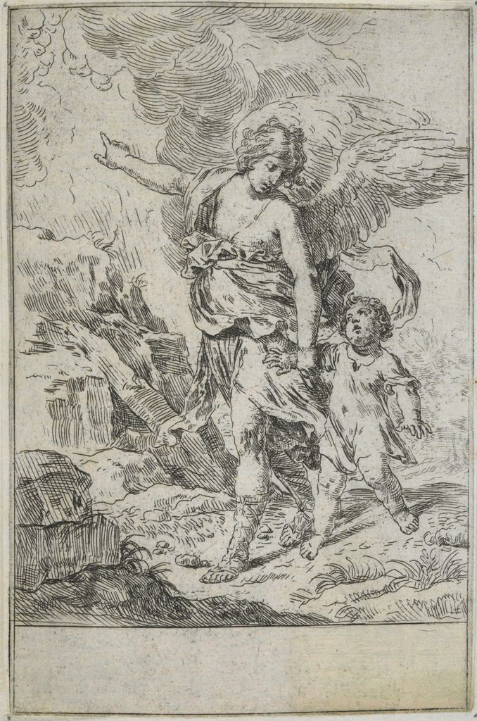 Guardian Angel Leading Child Up A Mountain