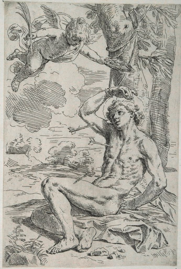 Saint Sebastian, Pierced By Arrows And Tied To A Tree, Greeted By A Cherub
