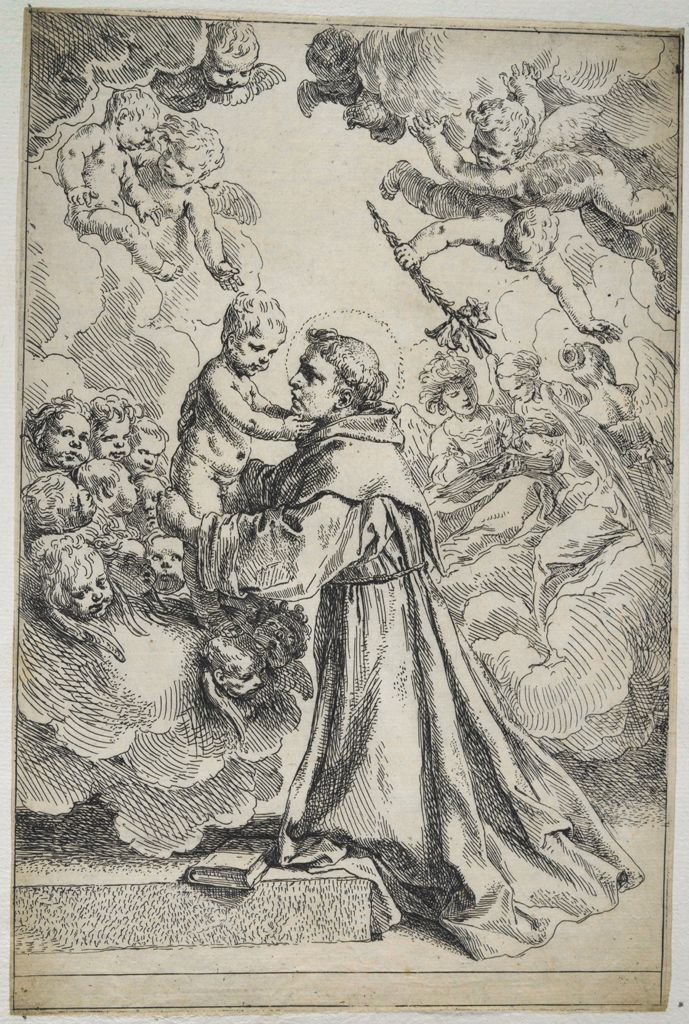 Saint Anthony Of Padua Adoring The Christ Child (Large Plate), Surrounded By Chorus Of Angels And Cherubs Descending With Clouds