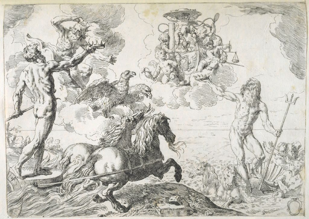 Jupiter, Neptune, And Pluto Offering Their Crowns To The Arms Of Cardinal Barberini