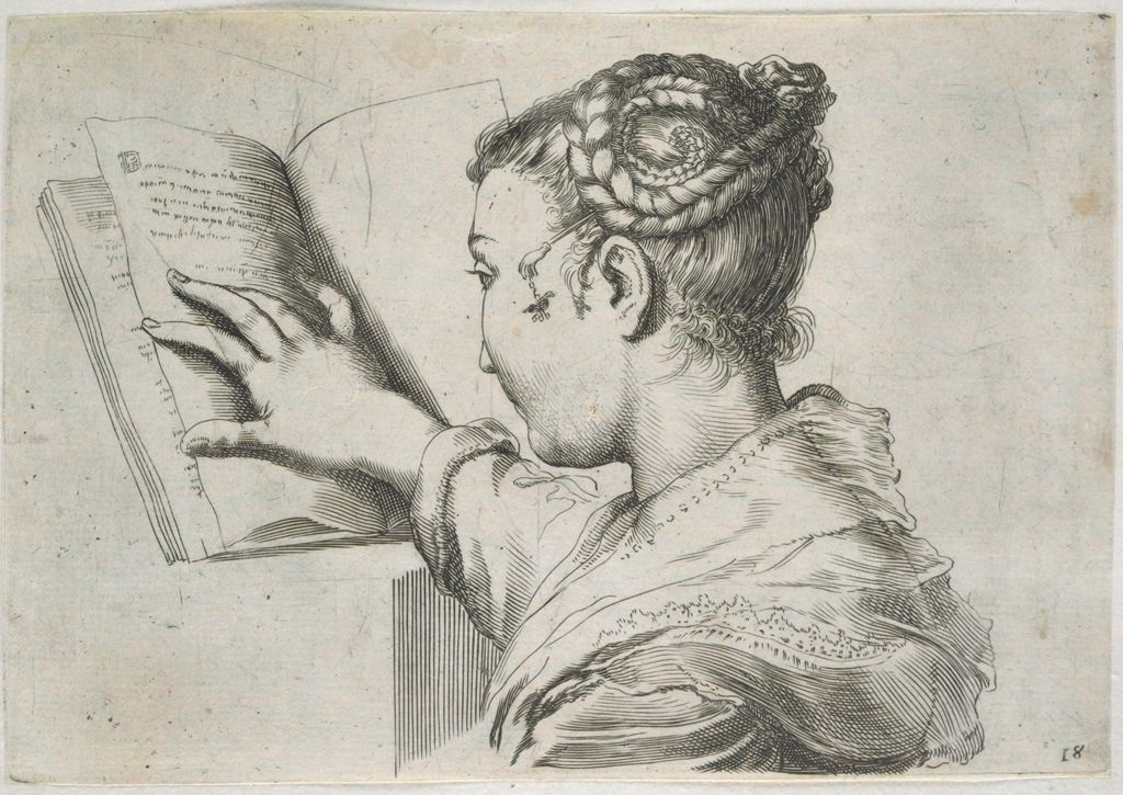 Bust Of A Young Woman Holding An Open Book