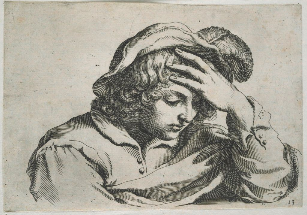 Bust Of A Young Man Leaning His Head On His Left Hand