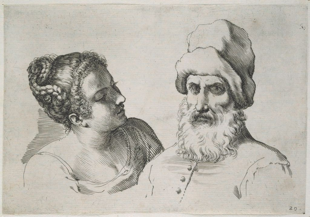 The Busts Of A Young Woman And An Old Man