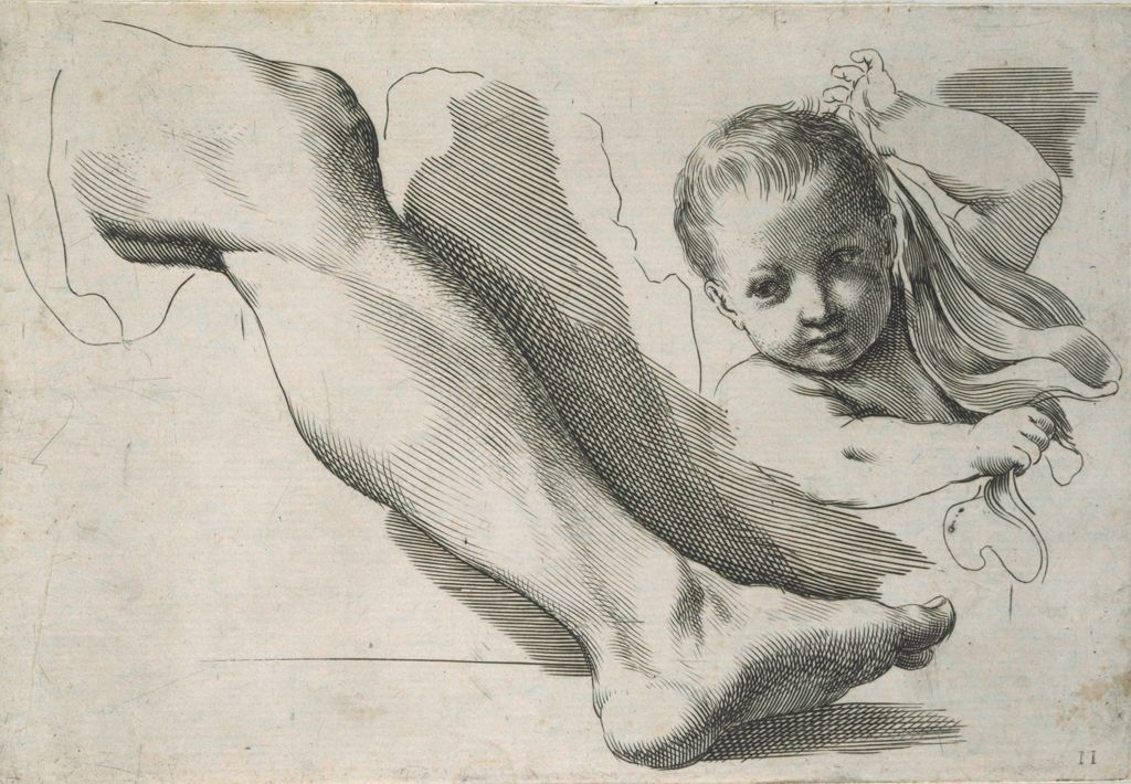 Man's Leg And The Bust Of A Child Holding A Veil