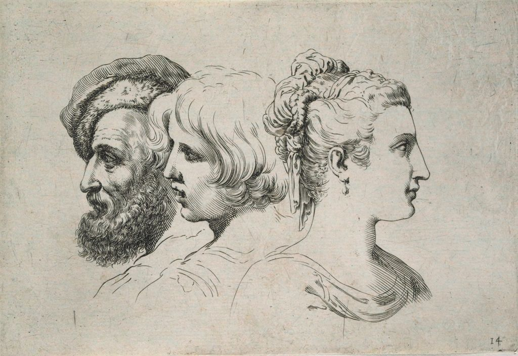 The Bust Of An Old Man, A Boy, And A Young Woman