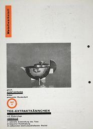 from the harvard art museums collections bauhaus sample catalogue page for tea infuser and strainer