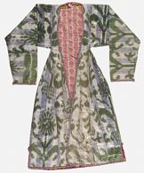 Ikat Robe (munisak) in faded blue, green and ivory