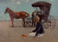 Beach Scene with Boy and Horse-Drawn Carriage