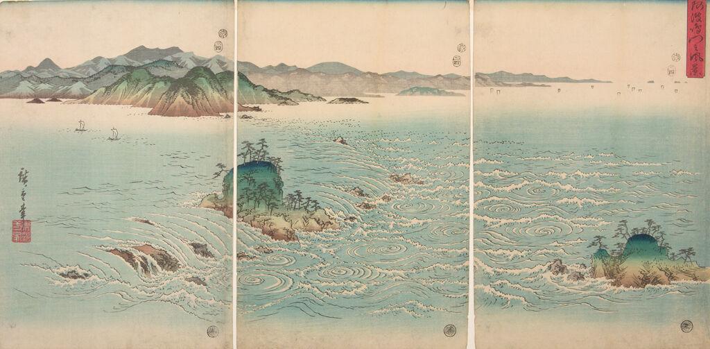 Triptych: Whirlpools Of Naruto Straits In Awa Province (Awa Naruto No Fūkei)