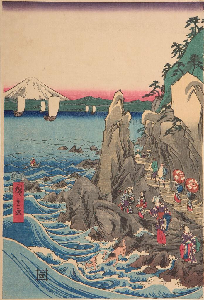 Worshippers Approaching The Benzaiten Statue At The Main Shrine, Iwaya (Sōshū Enoshima Benzaiten Kaichō Mōde Hongū Iwaya No Zu)