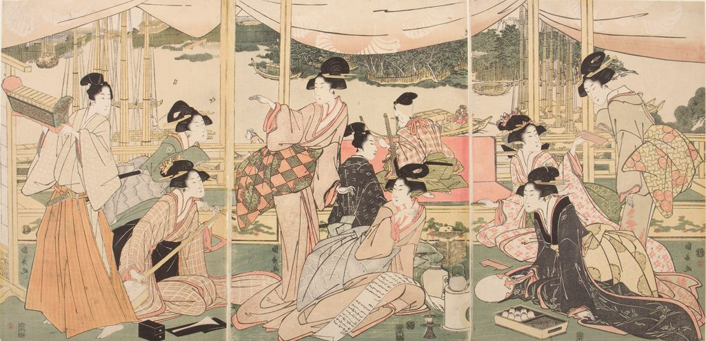 Triptych: Daimyo's Son Viewing The Sumida River