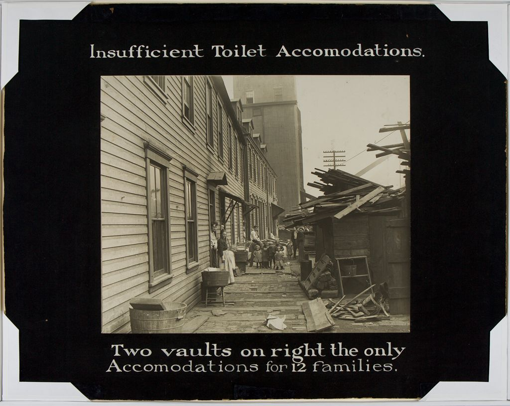 Housing, Conditions: United States. Pennsylvania. Pittsburgh. Pittsburgh Survey: Insufficient Toilet Accomodations: Two Vaults On The Right The Only Accomodations For 12 Families.