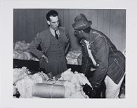Sharecropper with His Cotton Sample, Discusses Price with Cotton Broker, near Clarksdale, Mississippi