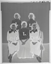 Untitled (Five Lockhart High School Girls, Three In Letter Sweaters)