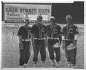 Untitled (Four Baseball Players Posing In Baseball Field)